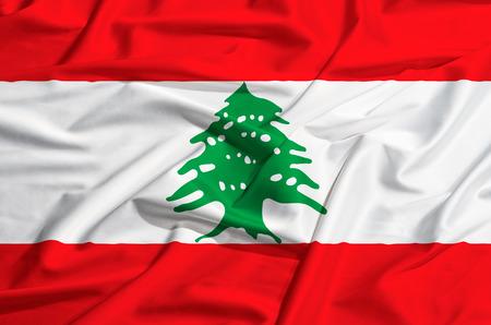 drape: Lebanon flag on a silk drape waving Stock Photo