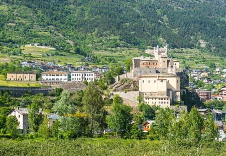 medioeval: medioeval castle of saint Pierre in italy near aosta Stock Photo