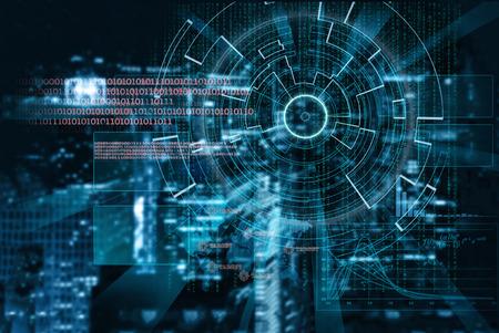 vision futuro: objetivo láser cibernética en una ciudad de la noche borrosa fondo