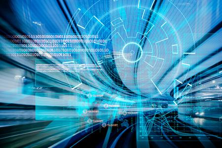 speed: blanco de láser cibernética futurista en un concepto de velocidad Foto de archivo