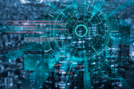 beholder: cyber laser target on a dark night city blurred background