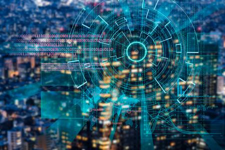 proteccion: objetivo láser ciber sobre un fondo borroso de la ciudad oscura noche