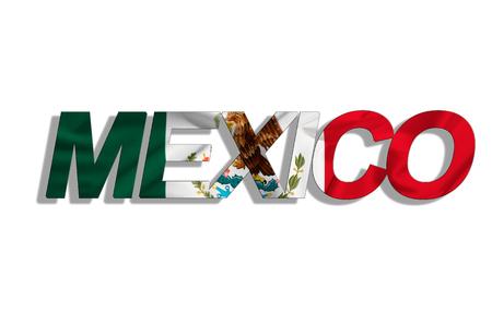 旗は、白い背景で隔離のテキスト メキシコ 写真素材
