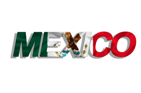 text mexico on flag isolated on white background