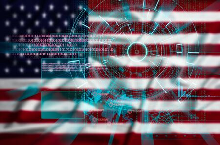 beholder: cyber target security on intentionally blurred United States  flag