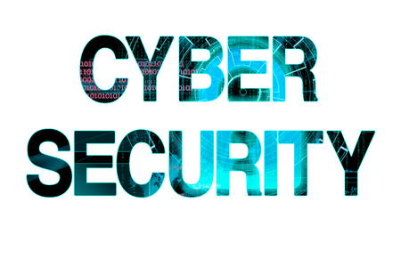 beholder: cyber security bright laser writing on a white background Stock Photo