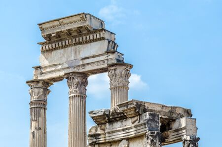 roman columns: ancient old roman columns in rome, italy