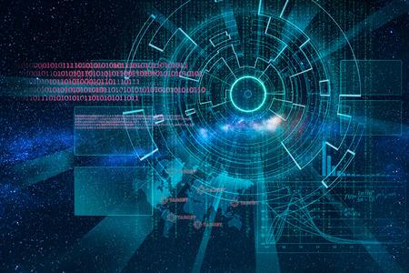 interstellar: cyber laser target on milky way background as interstellar trip