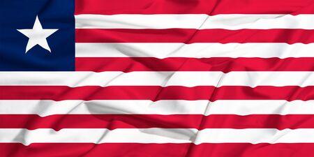 drape: waving flag of Liberia on a silk bright drape
