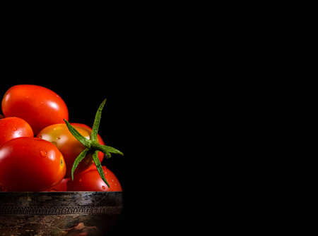 copysapce: tomato in a silver cup with black copyspace on right