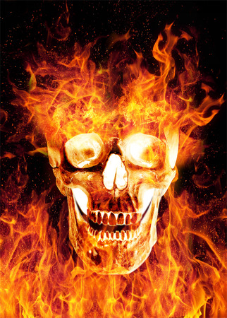 scaring: Flaming scaring skull isolated on black background