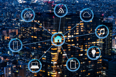 Internet of things futuristic background showing domotic connections Standard-Bild