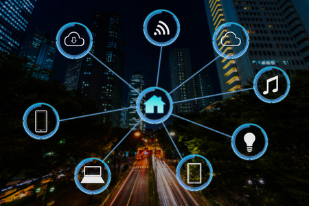 Internet of things futuristic background showing domotic connections Stock Photo