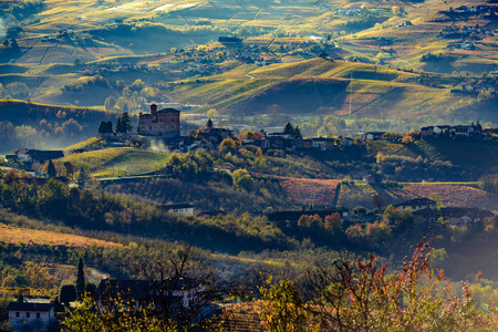 Autumn in northern italy region called langhe with colorful wineyards Banco de Imagens - 65938413