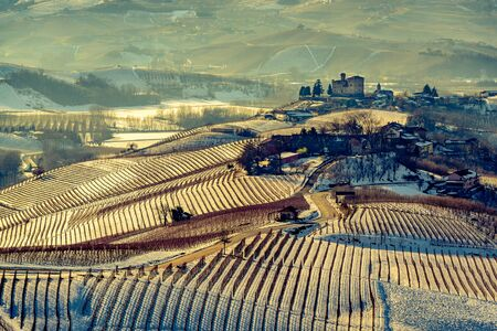 cavour: Grinzane Cavour castle and mountains in northern italy vintage look