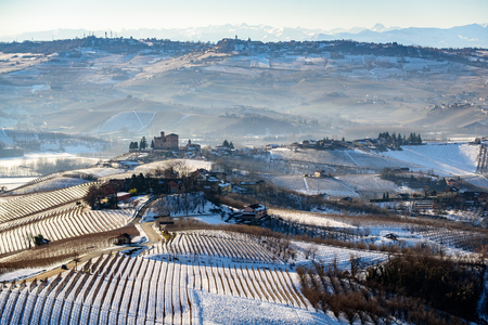 cavour: Grinzane Cavour castle and mountains in northern italy, langhe region, piedmont Editorial