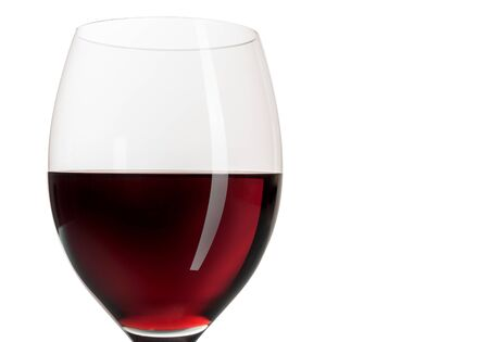 red wine goblet glass on white background and copyspace Lizenzfreie Bilder