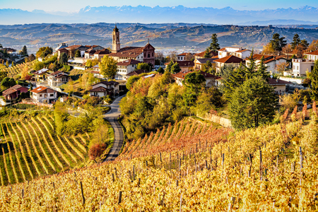Village of Treiso in Langhe region, northern Italy, unesco heritage in autumn