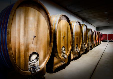 Wine barrel in winery Standard-Bild