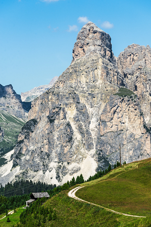 Sasshonger mountain  of  alta badia region on summer in northern italy
