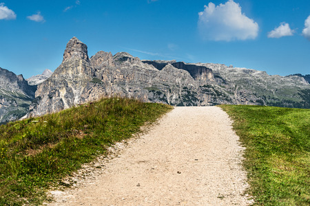 wide panorama of  alta badia region on summer in northern italy Lizenzfreie Bilder