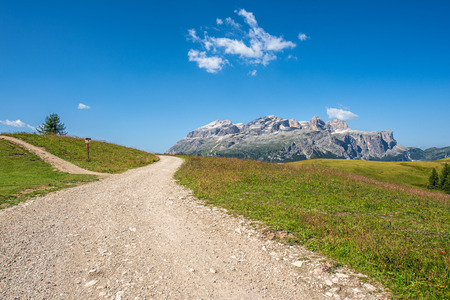mountain path in alto adige region, italy and sella massif