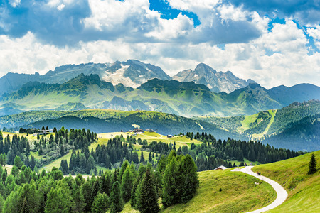 panorama of alto adige region in northern italy on summer. alta badia region
