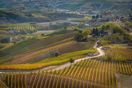 Grinzane Cavour castle in langhe region of northern italy in autumn with full bright colors Standard-Bild