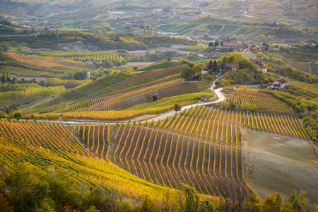 Grinzane Cavour castle in langhe region of northern italy in autumn with full bright colors Stock Photo