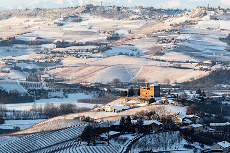Grinzane Cavour castle and mountains in northern italy, langhe region, piedmont Editorial