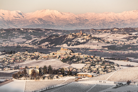 Castle and mount Viso in northern italy,on winter, langhe region, piedmont