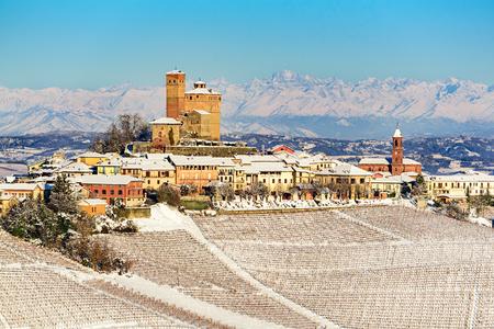 Serralunga castle in langhe region of northern Italy in winter with vineyards Standard-Bild