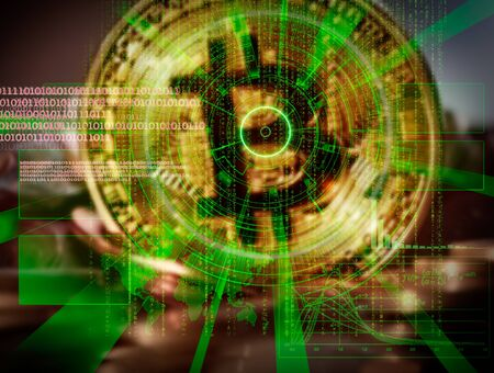 Bitcoin background with futuristic hud as synonym of global cryptocurrency trade Standard-Bild