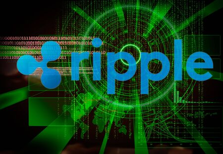 Ripple background with futuristic hud as synonym of global cryptocurrency trade
