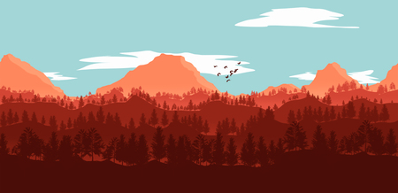 flat lanscape illustration of mountain valleys, pine trees and clouds