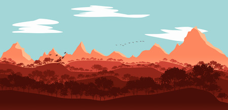 flat lanscape illustration of mountain valleys, maple trees,birds and clouds