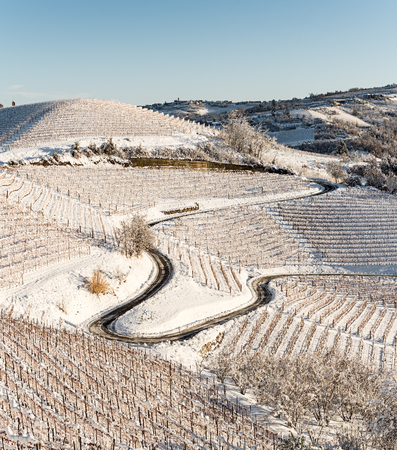 Lenghe region in Northern Italy unde the snow in cold winter,