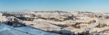 Panoramic view of Langhe and mount Viso in northern italy, winter, langhe region heritage. Standard-Bild
