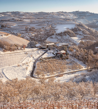 Lenghe region in Northern Italy unde the snow in cold winter
