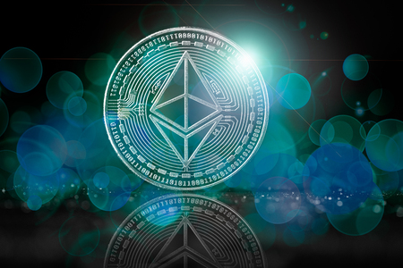 ethereum background with bokeh and flare as concept of global crypto-currency