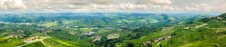 wide angle panoramic view of langhe hills
