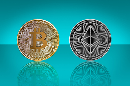 bitcoin and ethereum background with reflections as concept of global crypto-currency