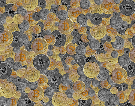 bitcoin and ethereum background made from multiple stacked coins as concept of global cryptocurrency