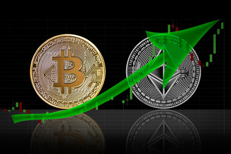 Bullish trend in cryptocurrency market of bitcoin and ethereum 版權商用圖片 - 96394765