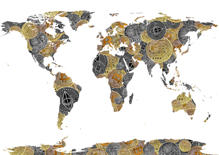 bitcoin and ethereum background world map as concept of  global cryptocurrency on white