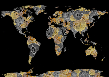 bitcoin and ethereum background world map as concept of  global cryptocurrency on black Standard-Bild