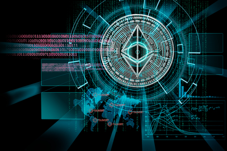 laser cyber hud on ethereumas concept of focus on cryptocurrency  global future