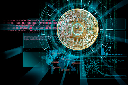laser cyber hud on bitcoin as concept of focus on cryptocurrency  global future 版權商用圖片