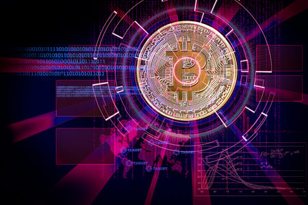 laser cyber hud on bitcoin as concept of focus on cryptocurrency  global future Standard-Bild