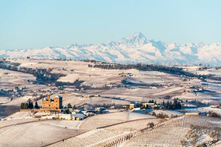mountains in northern italy, langhe region, piedmont